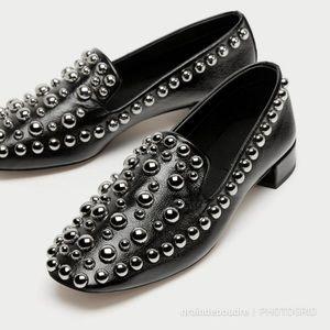 NWOT Zara Black Soft Leather Studded Loafers Shoes